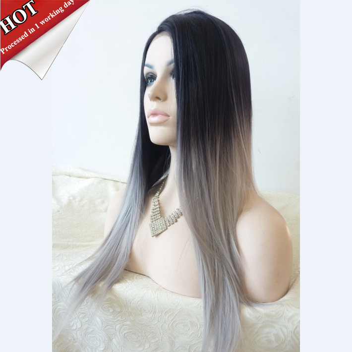 black grey ombre synthetic hair wig aliexpress