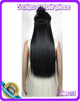 jet black straight synthetic hair extension