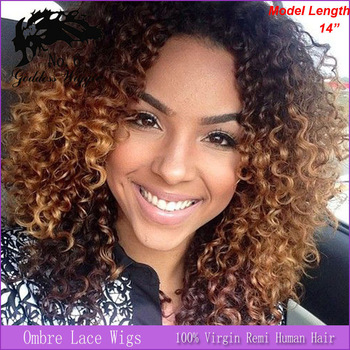ombre human hair afro wig