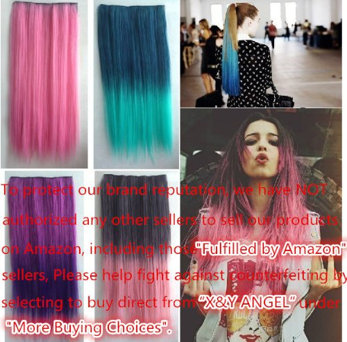 xy angel synthetic pink purple hair extensions